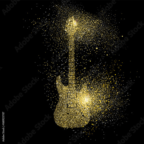 Obraz Electric Guitar gold glitter art concept symbol - fototapety do salonu