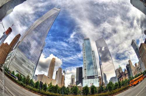 Colorful dramatic HDR image (fisheye lens) of the famous skyscrapers in Downtown Poster