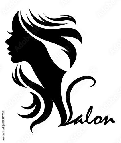 Zdjęcie XXL ilustracji wektorowych kobiety sylwetka ikona, logo twarz kobiety na białym tle