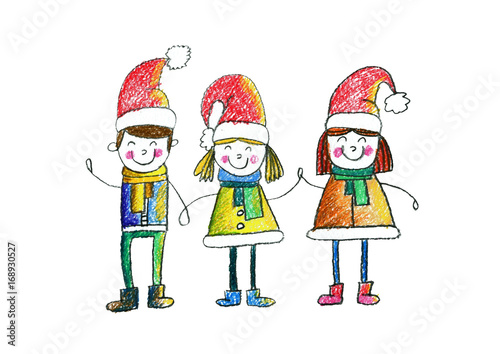 cute school or kindergarten children wearing christmas hats kids drawing style illustration christmas and new year