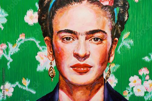 Fotografia  Painting female colorful portrait oil on canvas