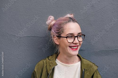 Portrait of smiling teen girl in glasses