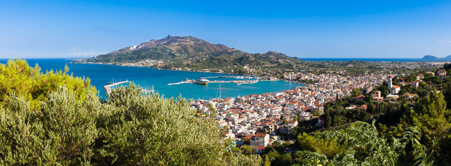 Panoramic Aerial  view of Zakynthos city in  Zante island, in Greece