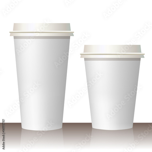 Plastic and carton white coffee or tee cup mock up. Vector template ...