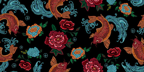 Embroidery oriental seamless pattern with golden carps and flowers. Vector em...