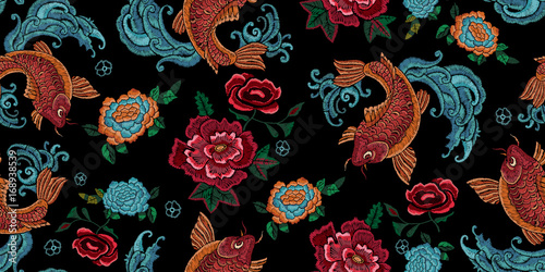 Obraz na plátne Embroidery oriental seamless pattern with golden carps and flowers