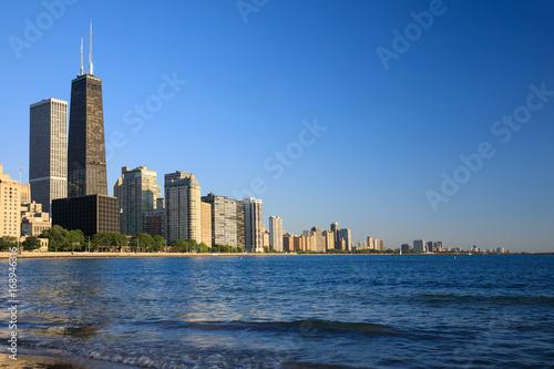 Plakat Chicago, brzeg dysku, jezioro michigan, gród