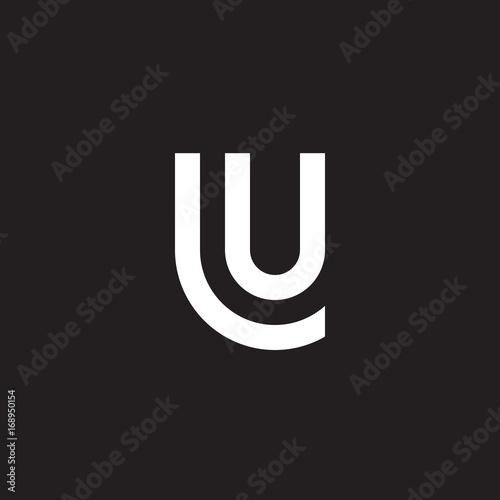 Initial lowercase letter logo lu, ul, u inside l, monogram rounded shape, white color on black background   Fototapete
