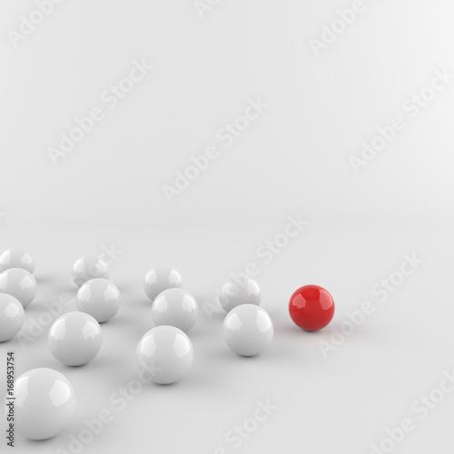 Leadership, red leader ball among whites. 3D Rendering.