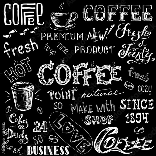 Plakaty czarno białe  coffee-set-hand-drawn-lettering-and-sign-on-black-background