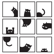 Black Cats In Nine Window Vect...