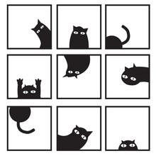 Black Cats In Nine Window Vector Image