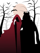 Little Red Riding Hood And Wolf In The Woods. Fairytale Illustration