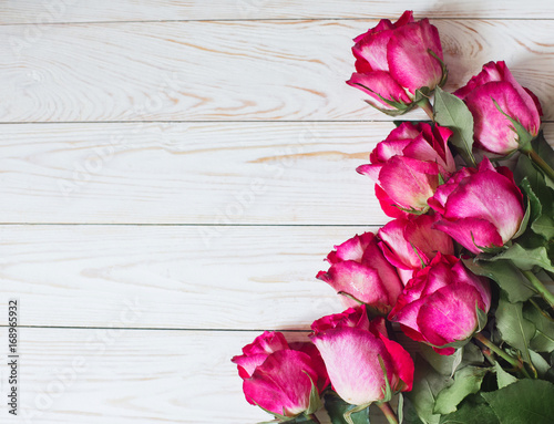 Fresh flowers Roses on Table Wall Copy Space