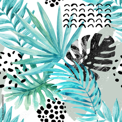 Tuinposter Grafische Prints Watercolor graphical illustration: tropical leaves, doodle elements on grunge background.