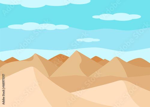 Spoed Foto op Canvas Turkoois The desert landscape. Sand dunes. Flat design. Vector illustration.