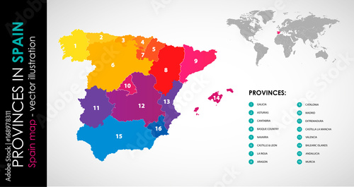 Spain Map Of Provinces.Vector Map Of Spain And Provinces Color Buy This Stock Vector And