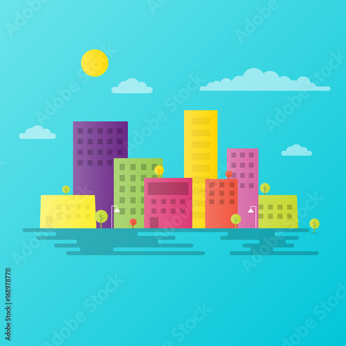 Poster Turquoise colorful city landscape
