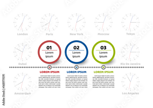 timeline infographic template 3 steps circle element options with sample text clocks with different