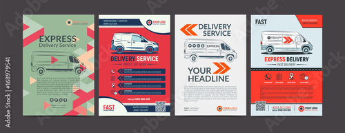 Carta da parati Set of Express delivery service brochure flyer design layout template