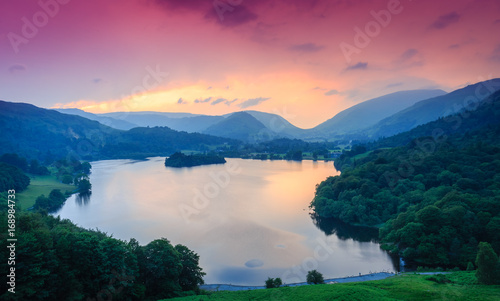 Fiery sky above Grasmere, The Lake District, Cumbria, England