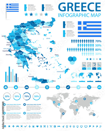 Greece - infographic map and flag - illustration Wallpaper Mural