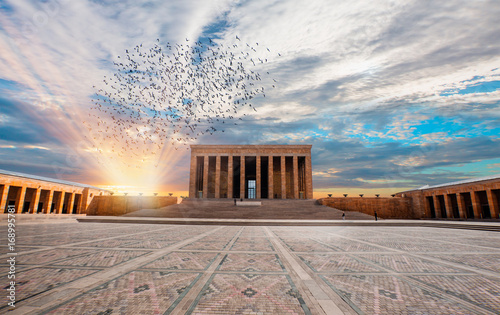 Fotobehang Monument Anitkabir - Mausoleum of Ataturk, Ankara Turkey