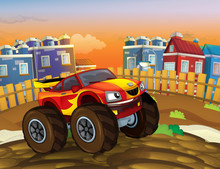 Cartoon Fast Off Road Car Looking Like Monster Truck Driving Through The City - Illustration For Children
