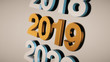 Metal number 2019 made of golden iron. 3d rendering