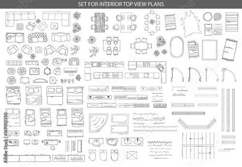 Obraz Big set of icons for Interior top view plans - fototapety do salonu