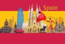 Spain Icons And Flag
