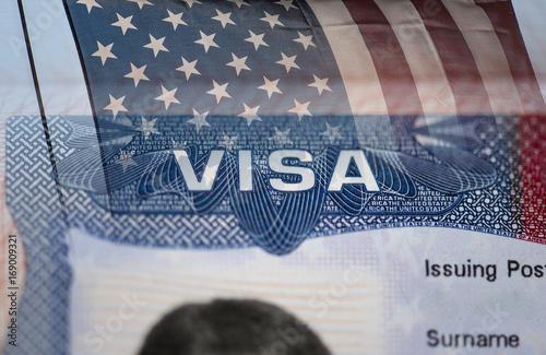 Fotografie, Obraz  Close-up detail of American VISA
