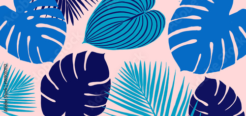 Blue Leaves Tropical Scene with Pink Background
