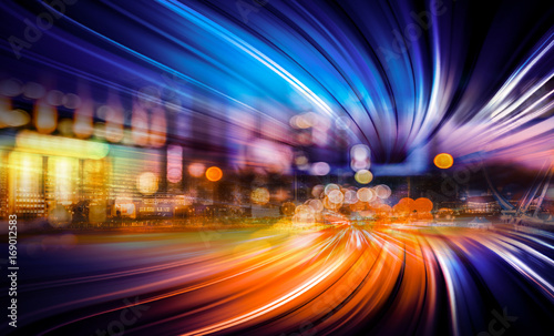 Foto auf Gartenposter Stadtgebaude Abstract Motion light tails and City background