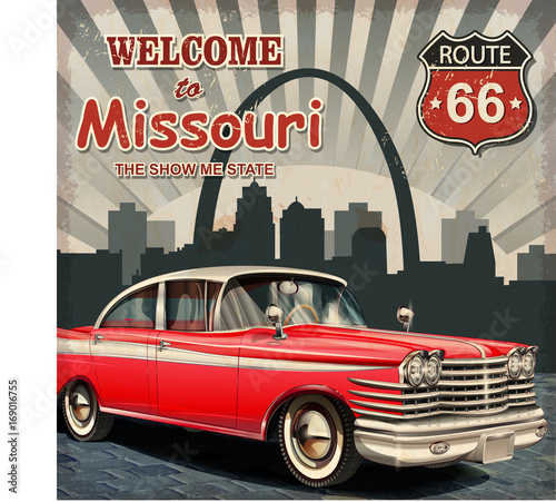 Papiers peints Route 66 Welcome to Missouri retro poster