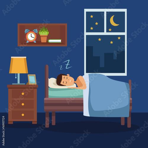 Spoed Foto op Canvas Violet colorful scene man sleep with blanket in bedroom vector illustration