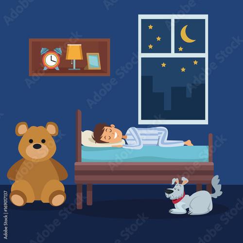 Spoed Foto op Canvas Violet colorful scene boy sleep in bedroom with pet dog vector illustration