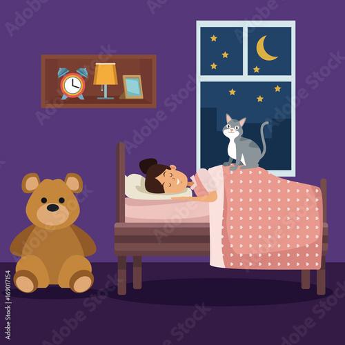 Spoed Foto op Canvas Violet colorful scene girl sleep with blanket in bedroom vector illustration