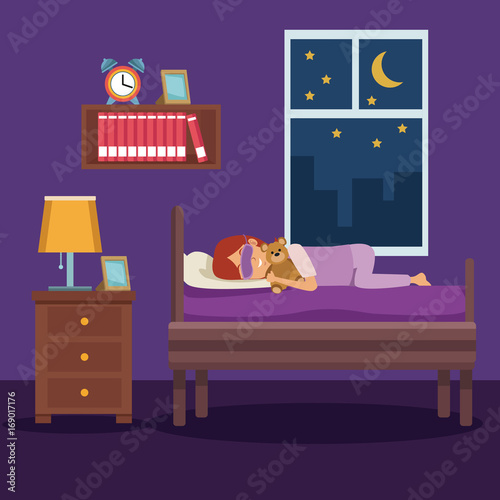 Spoed Foto op Canvas Violet colorful scene girl sleep with mask and in bedroom vector illustration