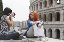 Tourist Woman In Rome