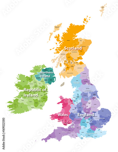 Carta da parati British Isles map colored by countries and regions