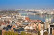 European landmarks. Panoramic view of Budapest with bell towers of the St. Anne's Church and Parliament , Hungary