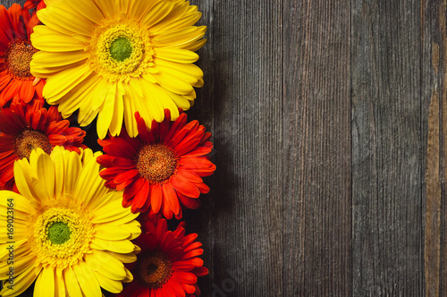 Foto op Canvas Madeliefjes Daisies on Rustic Wooden Table