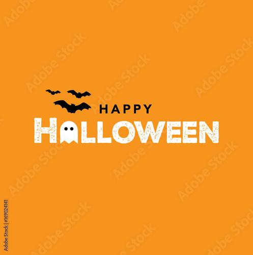Spoed Fotobehang Halloween Happy Halloween Text, Vector Illustration