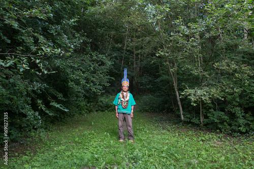 Man in authentic costume in woods