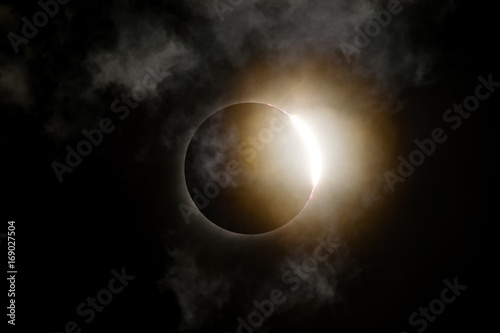 Photo  Total Solar Eclipse Diamond Ring with Clouds