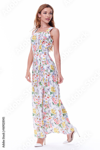 6eadc705be4c Pretty sexy lady fashion model blond hair wear long silk dress organic  catalog of clothes casual style for walk meeting white background beautiful  woman ...