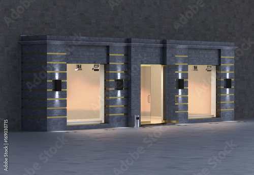 Deurstickers Surrealisme Store exterior, 3d illustration