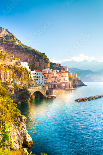 Morning view of Amalfi cityscape on coast line of mediterranean sea, Italy Canvas Print