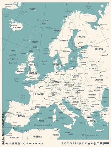 Fotografie, Obraz Europe Map - Vintage Vector Illustration